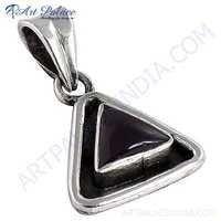 Nightlife Black Onyx Gemstone Triangle Silver Pendant