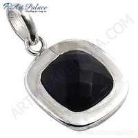 Midnight Black Onyx Gemstone Sterling Silver Pendant