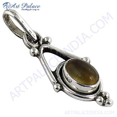 Cute Citrine Gemstone Silver Pendant