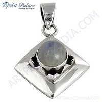 Antique Style Rainbow Moonstone Silver Pendant
