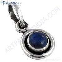 Celeb Style Lapis Gemstone Sterling Silver Pendant