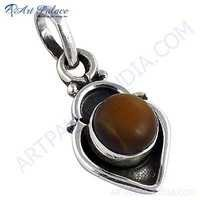 Precious Antique Tiger Eye Gemstone Silver Pendant