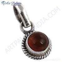 Truly Designer Rutilated Quartz Gemstone Silver Pendant