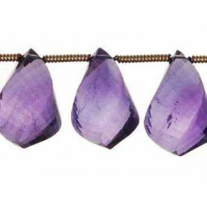 Amethyst Twisted Faceted Beads Drop