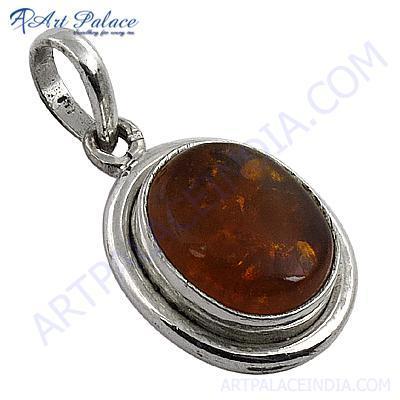 Hot !! Amber Gemstone Silver Pendant