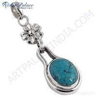 Antique Style Turquoise Gemstone Silver Pendant
