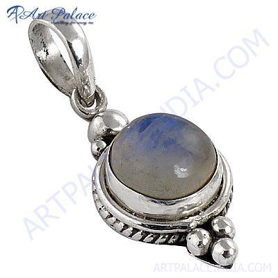 Decent Rainbow Moonstone Gemstone Silver Pendant