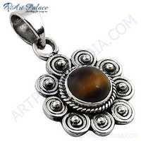 Fashion Accessories Tiger Eye Gemstone Silver Pendant
