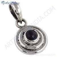 Indian Black Onyx Gemstone Silver Pendant