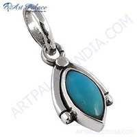 Indian Turquoise Gemstone Silver Pendant