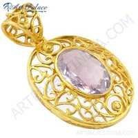 Fret Work Designer Gold Plated Silver Pendant With Amethyst