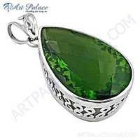 Charming Gemstone Silver Pendant With Green Glass
