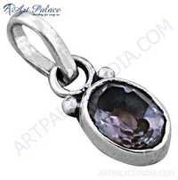 Classic Gemstone Sterling Silver Pendant With Amethyst