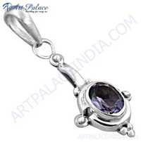 Indian Touch Amethyst Gemstone Silver Pendant