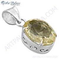 Dazzling Citrine Gemstone Silver Pendant