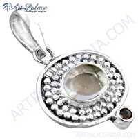 Fabulous Crystal & Garnet Gemstone Sterling Silver Pendant