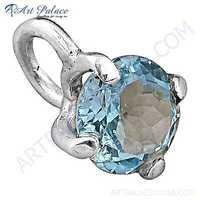 Charming Blue Topaz Gemstone Silver Pendant