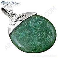 Trendy Green Aventurine Gemstone Silver Pendant