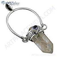 Trendy Amethyst & Crystal Gemstone Silver Pencil Style Pendant