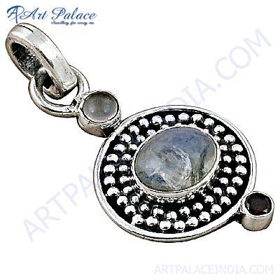 Indian Deisgner Gemstone Silver Pendant With Chalce, Garnet & Rainbow Moonstone
