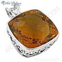 Charming Yellow Glass Gemstone Silver Pendant