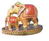 ELEPHANT  PLAIN WITH BABY ON BASE PAINTING