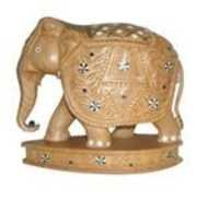 ELEPHANT  CARVEEN INLAID ON BASE