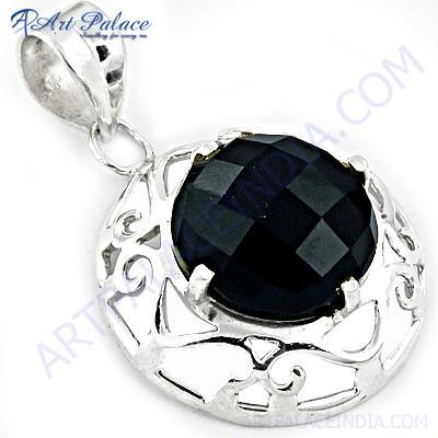 Hot !! Black Onyx Gemstone Fret Deisgner Silver Pendant