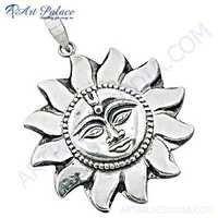 Sun Style Plain Silver Pendant