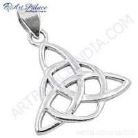 Plain Silver Fret Work Pendant