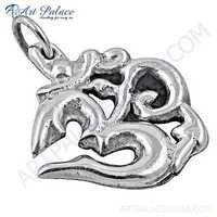 Hindu Religion Om Style Plain Silver Pendant