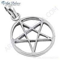 Star In Circle Style Plain Silver Pendant