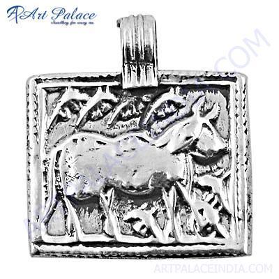 Indian Cultured Designer Plain Silver Pendant