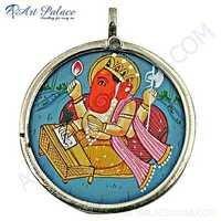 Hindu Lord Ganesha Plain Silver Pendant