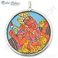 Lord Ganesha Plain Silver Pendant