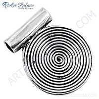 Spiral Circle Plain Silver Pendant