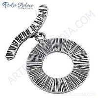 Deisgner Circle Plain Silver Pendant