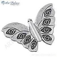 Cute Butterfly Plain Silver Pendant