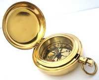 Brass push button direction compass