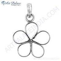 Cute Flower Style Plain Silver Pendant