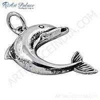 Pretty Fish Style Plain Silver Pendant