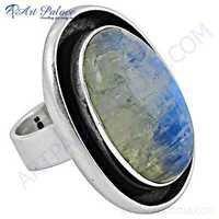 Large Victorian Rainbow Moonstone Gemstone Silver Ring