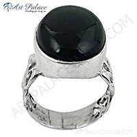 Midnight Black Onyx Gemstone Sterling Silver Designer Ring