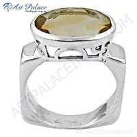 Classic Citrine Gemstone Sterling Silver Ring