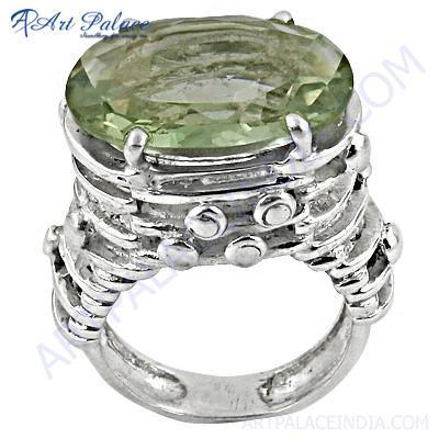 New Extra Shine Green Amethyst Gemstone Silver Ring