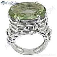 New Extra Shine Green Amethyst Gemstone Silver Ring
