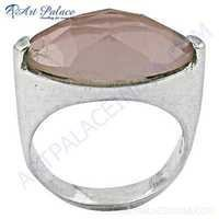 Lovely Rose Quartz Gemstone Silver Ring