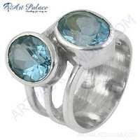 Charming Blue Topaz Gemstone Silver Ring