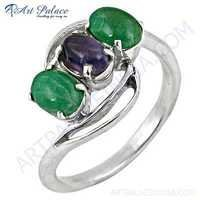 Unique Style Amethyst & Green Gemston Silver Ring