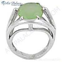 Indian Touch Prenite Gemstone Silver Ring